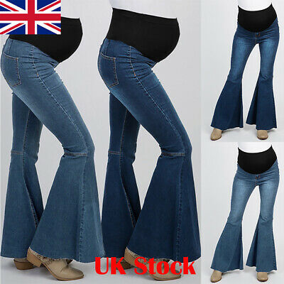 Maternity Pregnant Womens Jeans Ladies Denim Flares Pants Elasticated Trousers