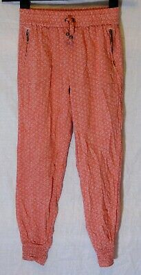 Girls BHS Pink White Patterned Soft Viscose Cuffed Harem Trousers Age 7-8 Years