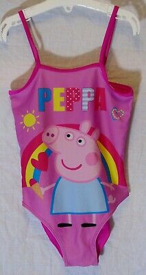Girls Peppa Pig Pink Rainbow Holiday Swimming Costume Swimsuit Age 6-7 Years