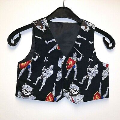 Custom Made boys waistcoat - Knights & horses -age UK 5/6 -smart/Xmas party