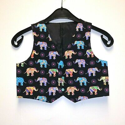 Custom Made boys waistcoat - Elephant design -age UK 5/6 -smart/Xmas party