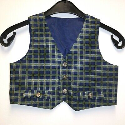 Custom Made boys waistcoat -Green/navy tartan -age UK 4-smart/Xmas party/wedding