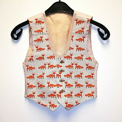 Custom Made boys waistcoat - Fox print -age 7/8 years -smart/Xmas party/wedding