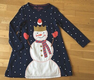 Mini BODEN Snowman Christmas Dress Age 7-8