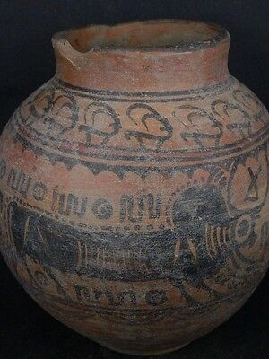 Ancient Large Size Teracotta Painted Pot With Bulls Indus Valley 2500 BC  #Ik455