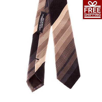 RRP €145 DOLCE & GABBANA Silk Necktie Classic Striped Pattern Made in Italy