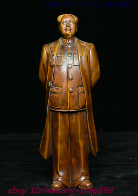 Collect Old China Boxwood Wood Carving Famous figure Mao Ze Dong Chairman Statue