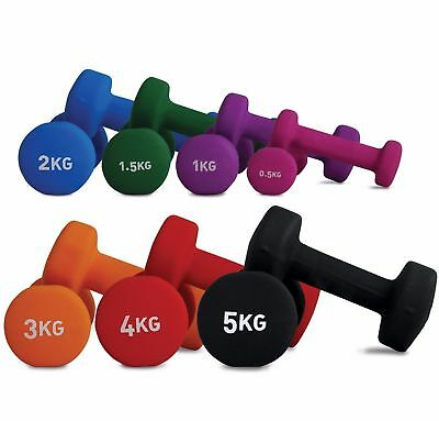 Fitness Mad Dumbbells Pair Neoprene Gym Workout Free Lifting Hand Weights NEW