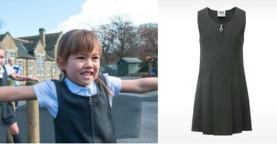 DAVID LUKE Pleated Bib Pinafore Dress Ages 2-12 Girls School Uniform