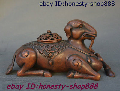 China Dynasty Bronze Sheep Goat Incense Burner Censer Incensory Thurible Statue