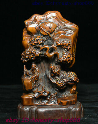 Collect Old China Natural Boxwood Wood Carving Pine Mountain 2 Old People Statue