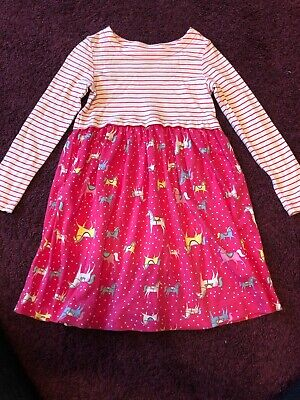 Girls Pretty Joules Pink Horse Print T-shirt Dress Age 7-8 Years Cotton