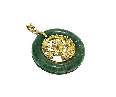 Vintage Chinese Gold Tone Carved Green Jade Bird Design Pendant