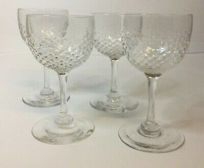 4 X  Antique Late Victorian Or Early Edwardian Cordial Glasses, Quality