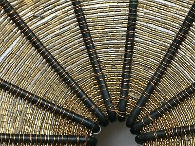 hand made iron rod framed wired beads tread basket, incredible labor intensive