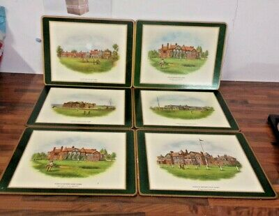"""Pimpernel - Famous British Golf Clubs Placemats 12"""" X 9""""  Cork Backed + Box"""