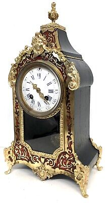 Antique French Red Tortois Shell And Brass Boulle Clock With Glass Window Ormolu