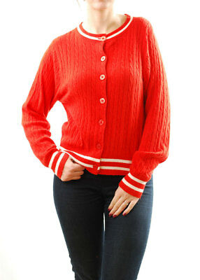 Wildfox Women's White Label Knitted Button Closure Sweater Red White Size S