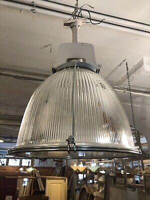 Vintage 1980s Holophane Style Industrial Ceiling Pendant Light Ribbed Glass