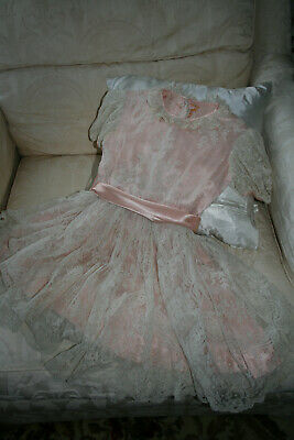 Exquisite 1940's? Little Girls Dress Handmade With Antique Lace.