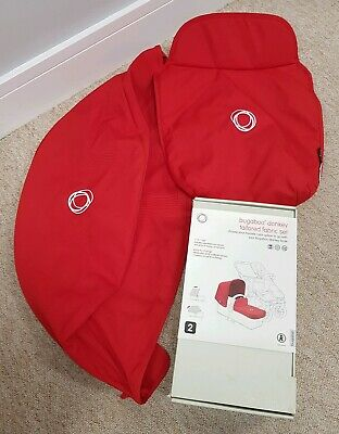 Bugaboo Donkey Red Extendable Hood/sun canopy and carrycot apron 010
