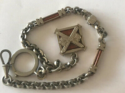 ANTIQUE Silver Albert Watch Pocket Fob Chain - Gold Sand Stones AGATE @ 1900