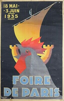 Bourgis ( Xx) Cartel Original : Feria de Paris 1935 Art Deco Francia Gallo