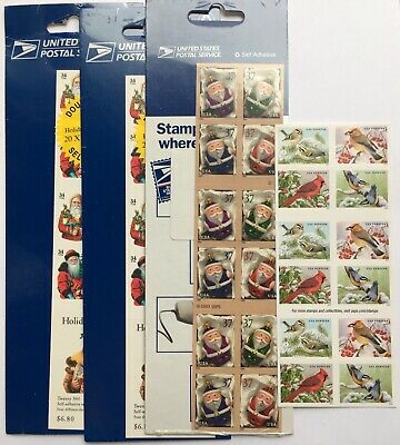 US $32 Face POSTAGE LOT OF Mixed CHRISTMAS/Holiday/Winter Stamps 4 BOOKLETS