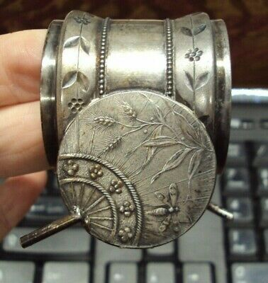 Vtg Antique MERIDEN Silver Plate NAPKIN RING ~ DRAGON FLY FANS ~ As Is, As Found