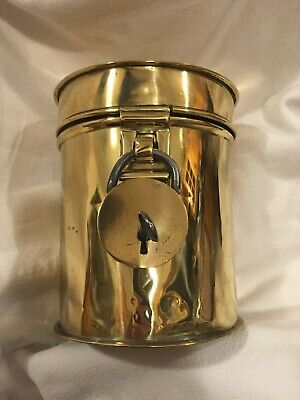 Victorian Brass Tobacco Tin With Padlock And Key