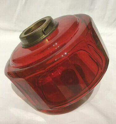 Large Victorian Hand Blown Dark Cranberry / Red Glass Oil Lamp Font.