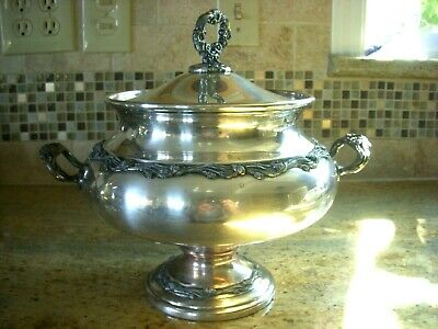 Antique silver plated on copper Sheridan tureen sauce soup bowl with lid