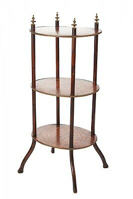 Victorian Three Tier Oval Inlaid Stand