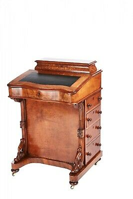 Victorian Burr Walnut Inlaid Davenport