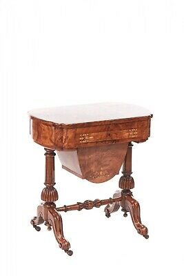 Outstanding Victorian Freestanding Inlaid Burr Walnut Sewing Table