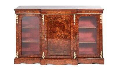 Fine Quality Antique Victorian Burr Walnut Inlaid Credenza