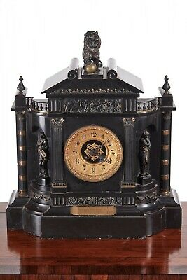 Large Outstanding Victorian Marble Architectural Mantle Clock