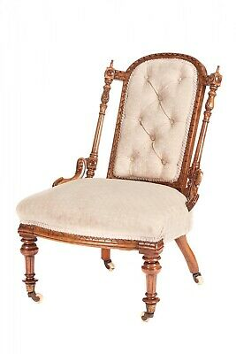 Fine Quality Victorian Solid Walnut Carved Ladies Chair