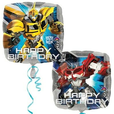 Transformers Happy Birthday Optimus Prime Bumble Bee Square Foil Balloon Amscan