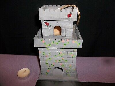 Hand Crafted Wooden Bird House with a 2 Story Castle Motif for Shelf Top
