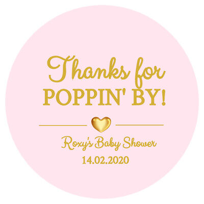 24 x BABY SHOWER PERSONALISED ROUND STICKERS LABELS READY TO POP PARTY FAVORS D2