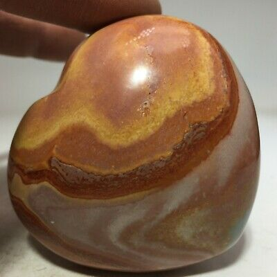 B2162-204g  NATURAL Polished POLYCHROME JASPER heart Crystal