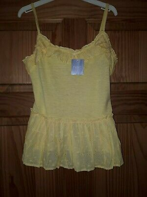 Bnwt Next Yellow Summer Holiday Top Age 10 Yrs Ruflles & Anglaise