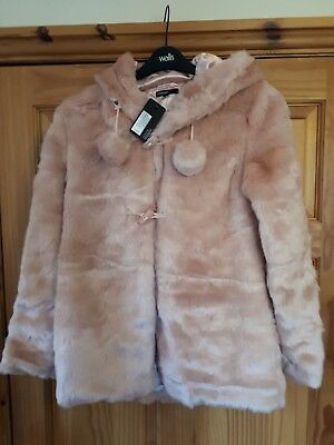 Bnwt Girls Pink Faux Fur Coat By Autograph @ M&S Pompom Detail & Hood