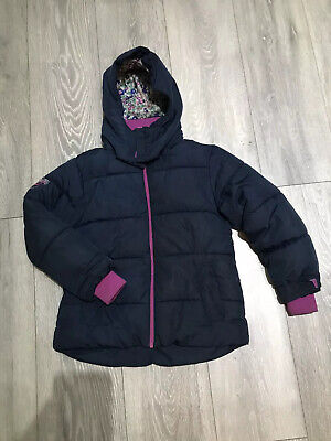 Girls NEXT Navy & Pink Hooded, Padded Warm Winter Coat Age 7-8 Years