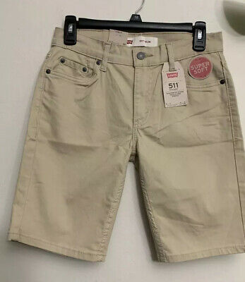 Levis Boys 511 Chino Shorts Cream Size 14R. (Waist 27inch)Slim from Hip to Knee
