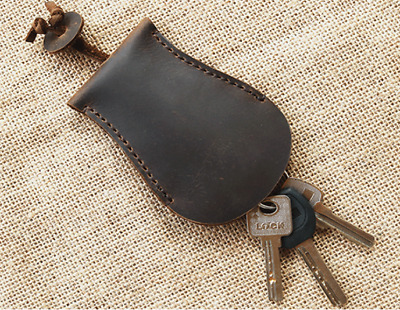 Key bag pouch case chain holder for men women Cow Leather handmade brown Z790