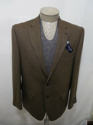 Chaps Men's 100% Wool Coat Blazer Tweed VTG Brown Olive Housandstooth 42R $250