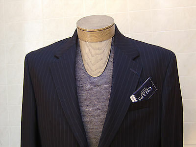 Chaps Mens 100% Wool Sport Jacket Blazer Suit Navy Blue Pinstripe Coat 40S $220