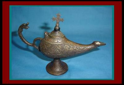 Embossed ROMAN BYZANTINE BRONZE OIL LAMP w/ CROSS FINIAL w/ Dolphin Head Handle
